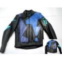 Cazadora de Piel NUEVA Look Well (negra-formas azules) talla 48.