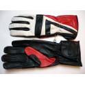 Guantes Kayatsu piel negro con motivos rojo-blanco. Talla S.