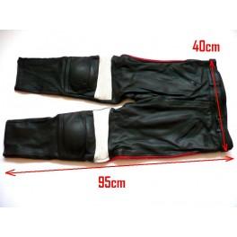 Pantalon Kayatsu piel negro,mixto rojo-blanco. Equivalente 38-40