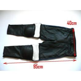 Pantalon Kayatsu piel negro,mixto azul-blanco. Equivalente 38-40