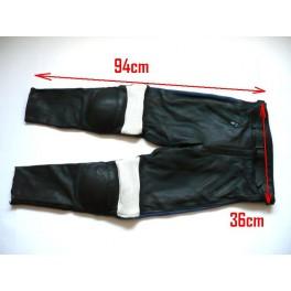 Pantalon Kayatsu piel negro,mixto azul-blanco. Equivalente 36-38