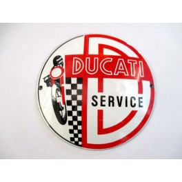 Rotulo metalico replica servicio Ducati (Ø 120mm)