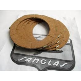 Juego discos friccion embrague NUEVOS Sanglas 400-500. (Corcho)